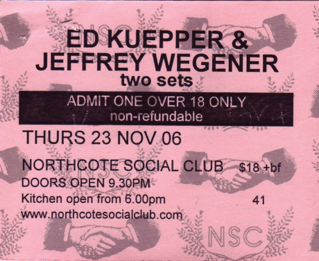 Ticket stub NSC 11/2006