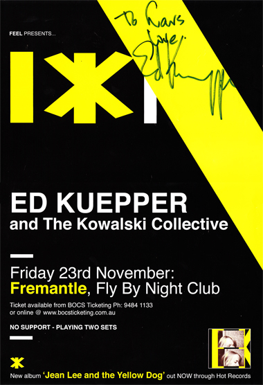 Poster from FlyByNight club, Fremantle, Nov 2007